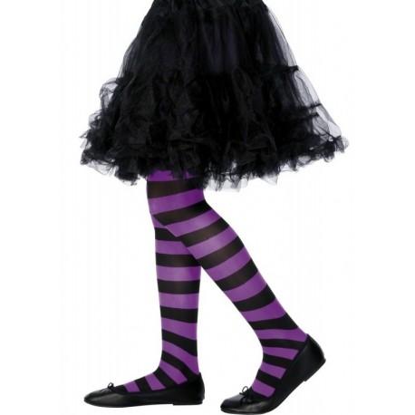 Rajstopy dziecięce w paski czarno-fioletowe