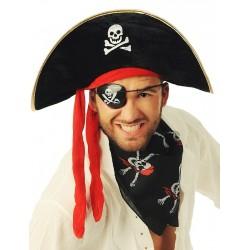 Kapelusz pirata z czerwoną szarfą