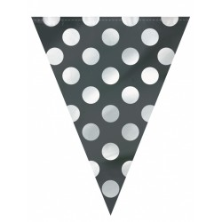Girlanda flagi czarna w białe kropki, 3.65m