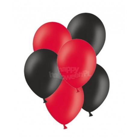 """Balony gumowe 10"""", czerwone i czarne 10szt"""
