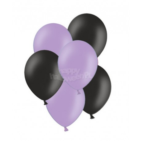 """Balony gumowe 10"""", fioletowe i czarne 10szt"""